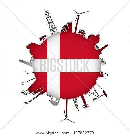 Circle with industry relative silhouettes. Objects located around the circle. Industrial design background. Flag of Denmark in the center. 3D rendering.