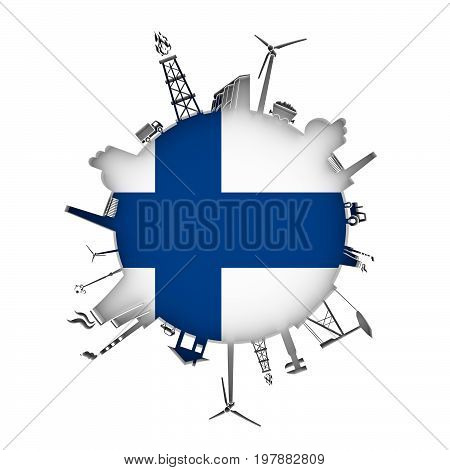 Circle with industry relative silhouettes. Objects located around the circle. Industrial design background. Flag of Finland in the center. 3D rendering.