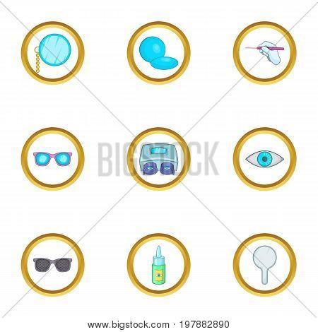 Eye care ophthalmology icons set. Cartoon set of 9 eye care ophthalmology vector icons for web isolated on white background