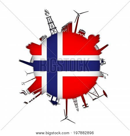 Circle with industry relative silhouettes. Objects located around the circle. Industrial design background. Flag of Norway in the center. 3D rendering.