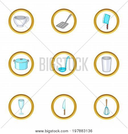 Kitchen utensils icons set. Cartoon set of 9 kitchen utensils vector icons for web isolated on white background
