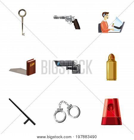 Crime scene icons set. Cartoon set of 9 crime scene vector icons for web isolated on white background