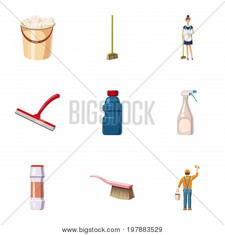 Detergents icons set. Cartoon set of 9 detergents vector icons for web isolated on white background
