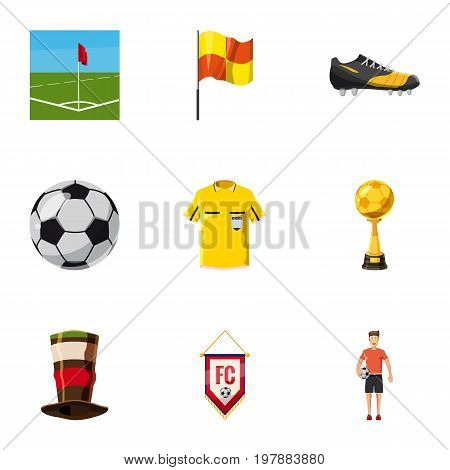 Football fans icons set. Cartoon set of 9 football fans vector icons for web isolated on white background