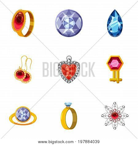 Bijouterie icons set. Cartoon set of 9 bijouterie vector icons for web isolated on white background