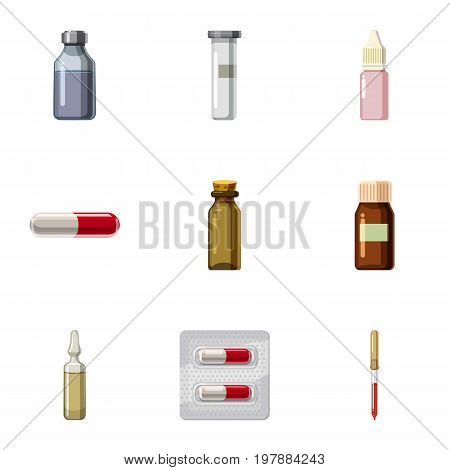 Medications icons set. Cartoon set of 9 medications vector icons for web isolated on white background