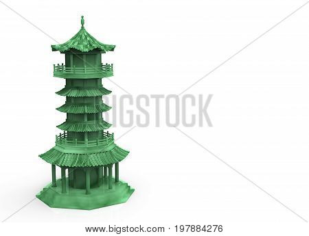 3d rendering. chinese pagoda tower in jade style on white background