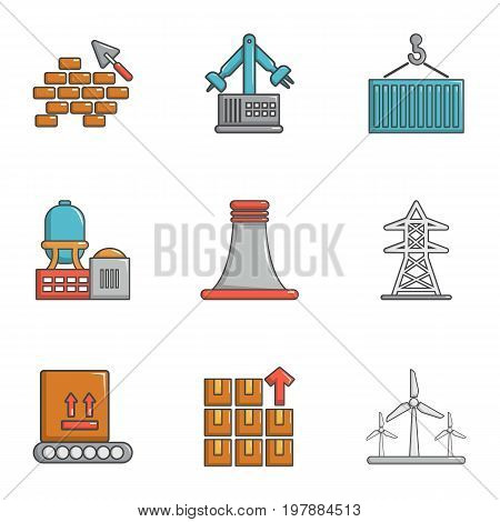 Atomic industry icons set. Cartoon set of 9 atomic industry vector icons for web isolated on white background