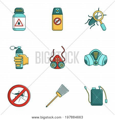 Pest control icons set. Cartoon set of 9 pest control vector icons for web isolated on white background