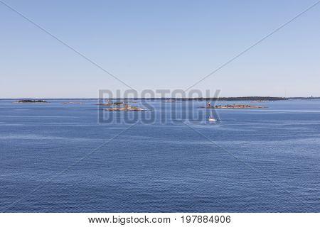 Small islands in sea near Helsinki Finland