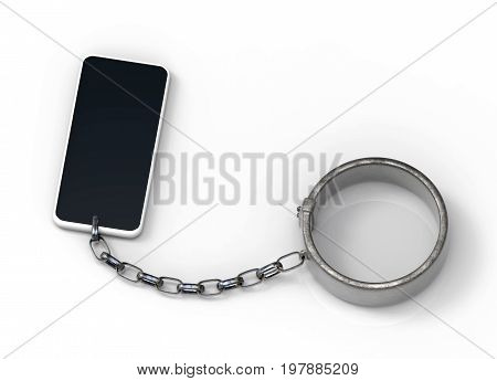 3d rendering. a smartphone has connected with a handcuff. Social media slave concept