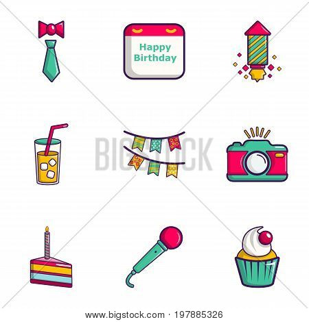 Birthday entertainment icons set. Flat set of 9 birthday entertainment vector icons for web isolated on white background
