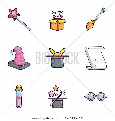 Magic show icons set. Flat set of 9 magic show vector icons for web isolated on white background