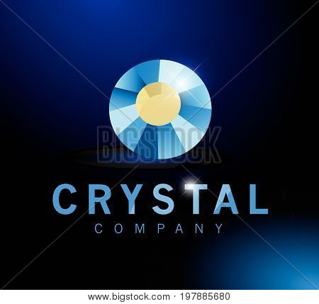 Vector abstract logo design with rhinestone gem sign isolated on dark blue background. Good for jewelry company, lightning industry, fashion business company group insignia. Simple gem stone icon.