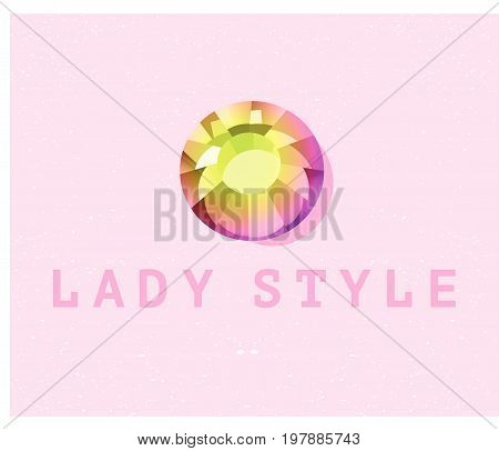 Vector abstract logo design with rhinestone gem sign isolated on pink background. Good for lady store, jewelry company, lightning industry, fashion business company group insignia. Simple gem icon.