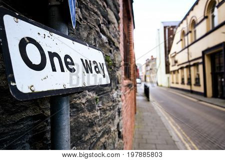 One way road sign in a street in Derry  Northern Ireland