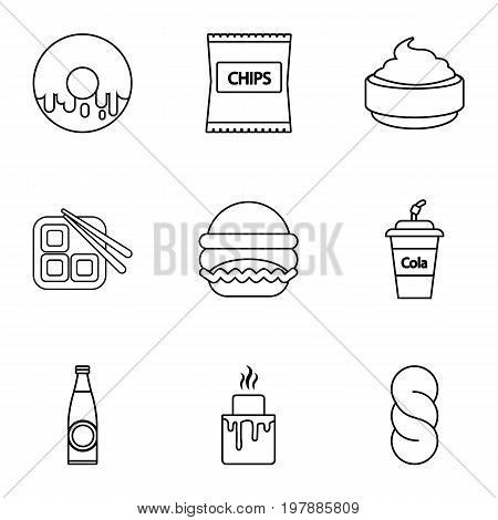 Unhealthy food icons set. Outline set of 9 unhealthy food vector icons for web isolated on white background
