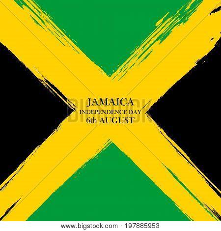 Jamaica Independence Day celebration card. Brush stroke holiday background. Vector illustration.