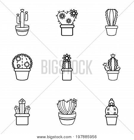 Cactus in a pot icons set. Outline set of 9 cactus in a pot vector icons for web isolated on white background