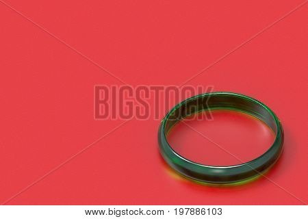 3d rendering. a beautiful luxurious dark green jade bracelet on red background. for spacial time of asia people as chinese newyear