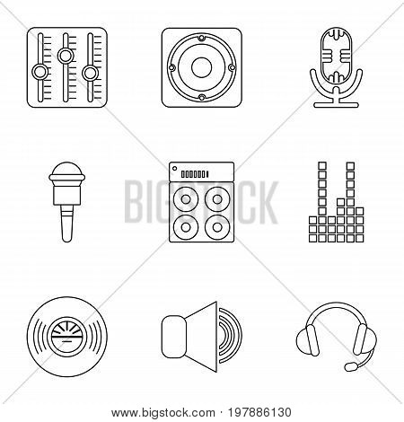 Electronic music icons set. Outline set of 9 electronic music vector icons for web isolated on white background