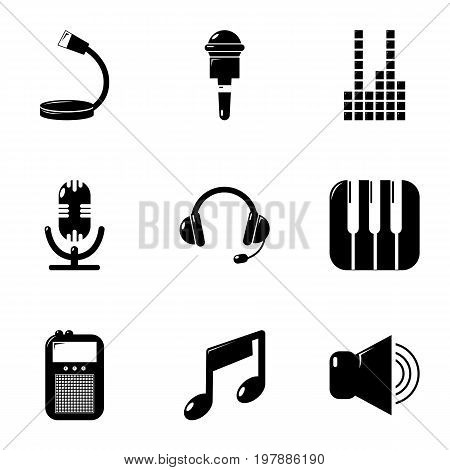 Electronic music icons set. Simple set of 9 electronic music vector icons for web isolated on white background
