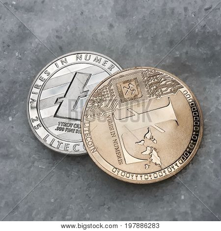 Silver And Gold Litecoin Coin