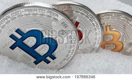 Silver Colorful Bitcoins