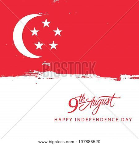 Singapore Happy Independence Day, 9 august celebration card with singaporean flag brush stroke background and hand lettering text design. Vector illustration.
