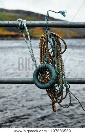 Old rope of fishermen at the coast of Donegal Ireland