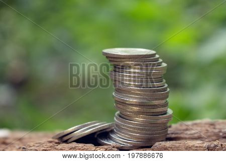 stack of coins for save money,silver coins for website and article saving and grow.