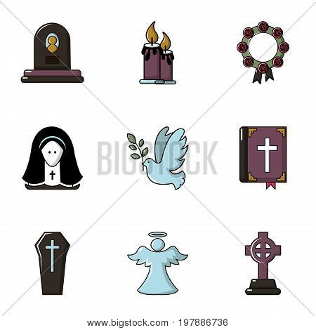 Funeral home icons set. Flat set of 9 funeral home vector icons for web isolated on white background