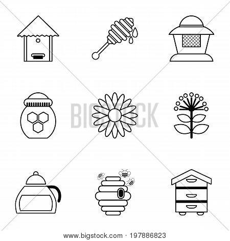 Honey production tools icons set. Outline set of 9 honey production tools vector icons for web isolated on white background