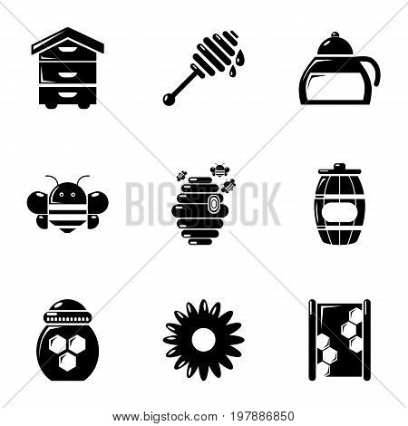 Honey production icons set. Simple set of 9 honey production vector icons for web isolated on white background