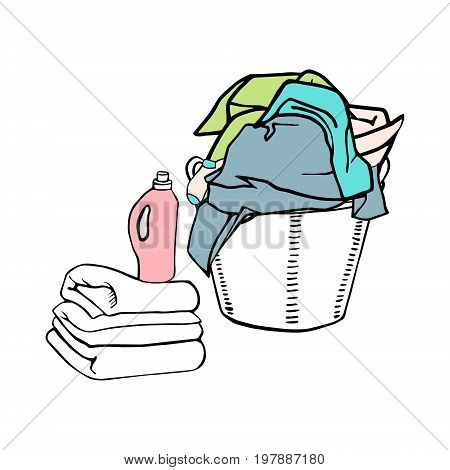Full laundry basket with clothes, textiles and bed linen. Clean sheets and a detergent.