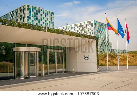 THE HAGUE, NETHERLANDS. July 19, 2017. The International Criminal Court in Hague, its new building main entrance.