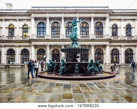 Hygieia Fountain In Hamburg Hdr