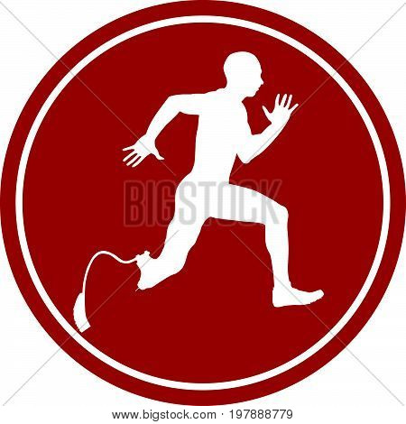 sports sign icon male athlete disabled amputee running