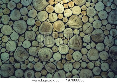 Cutting wooden background for decorate interior with low light