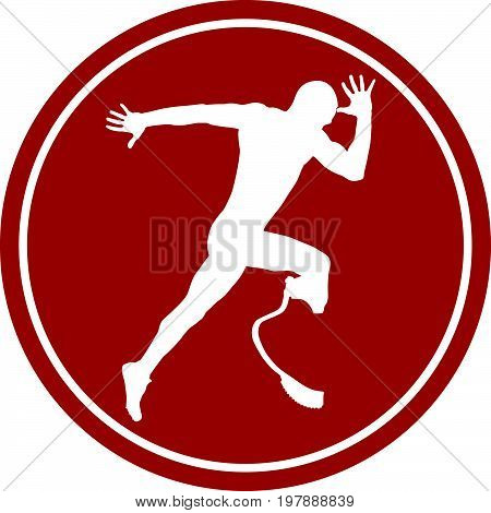 sports sign icon male athlete disabled amputee an explosive start