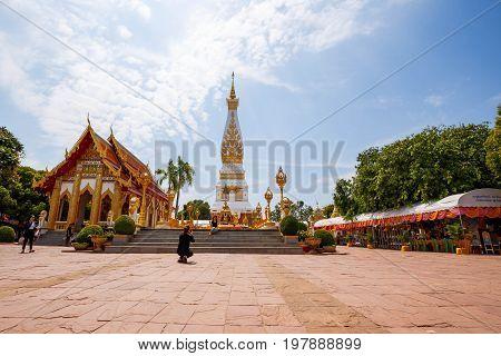 Wat Phra That Phanom Buddhist Temple In Nakon Pranom Thailand