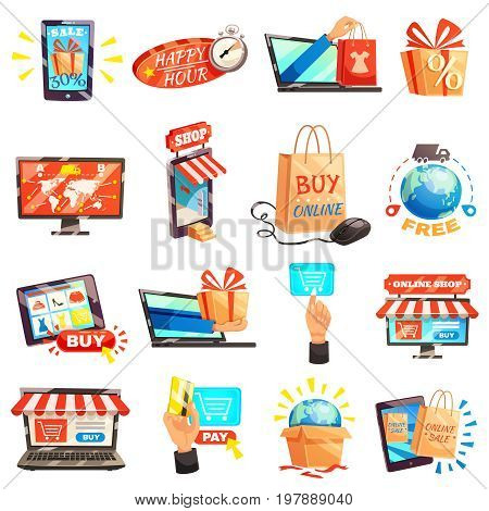 Online shopping e-commerce set of isolated conceptual images with electronic gadgets gift boxes and storefront vector illustration