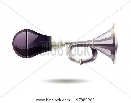 Pneumatic car horn in vintage style with compressor in pear view on white background isolated vector illustration