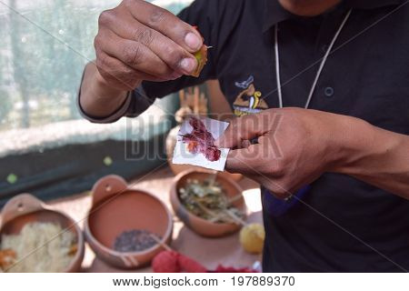 Traditional weavers in Peru use plants and foods to make natural dyes