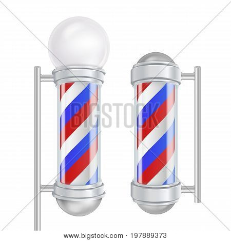 Barber Shop Pole Vector. 3D Classic Barber Shop Pole. Red, Blue, White Stripes. Isolated On White Illustration