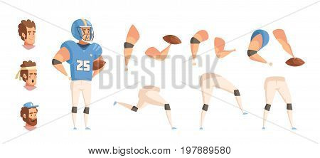 Sportsman constructor retro cartoon set with flat male ballplayer character in uniform heads hands and legs vector illustration