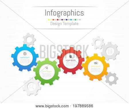Infographic design elements for your business data with 4 options parts steps timelines or processes. Gear wheel concept Vector Illustration.