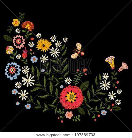 Embroidery native pattern with simplify flowers and bee. Vector embroidered traditional floral bouquet. Tribal style design for fashion wearing.