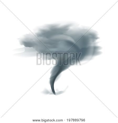 Tornado twirling twister spinning into cloudy sky in black grey shades on white background realistic vector illustration