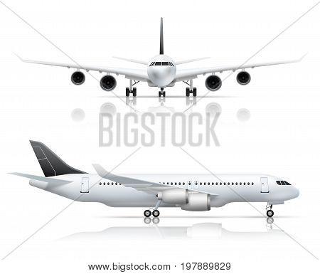 Large passenger jet airliner front and side airplane view realistic set white background reflection isolated vector illustration